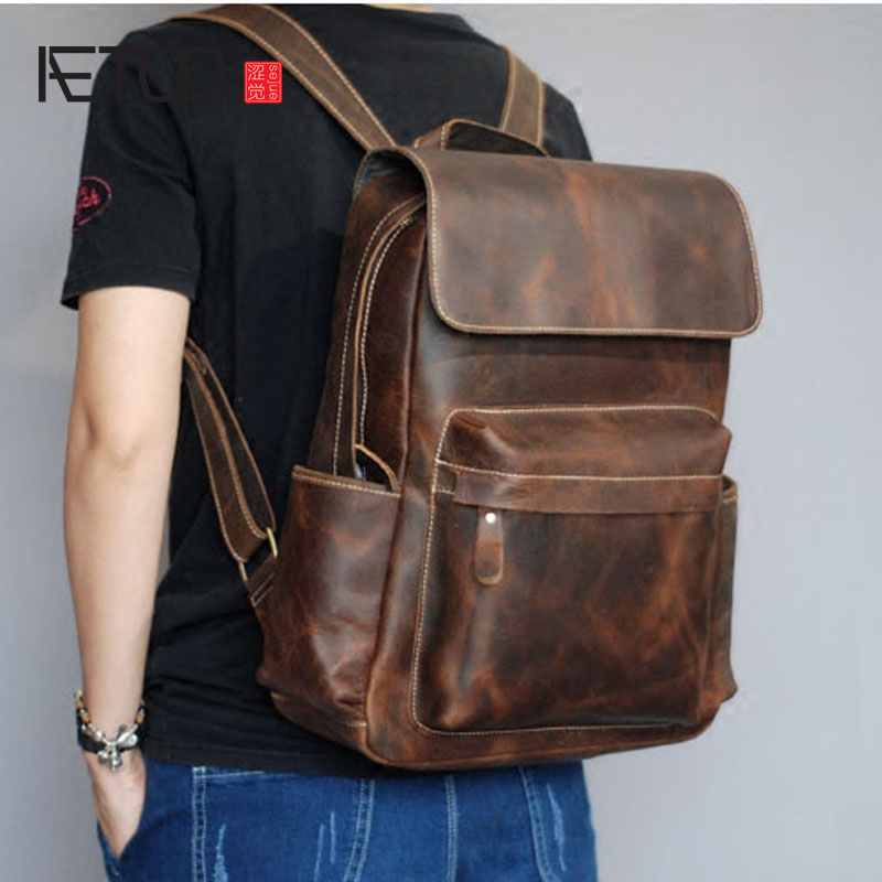 AETOO Retro handmade mad horse leather shoulder bag leather men travel backpack bag aetoo spring and summer new leather handmade handmade first layer of planted tanned leather retro bag backpack bag