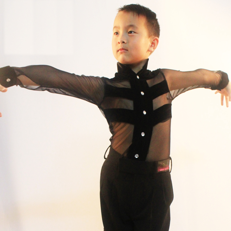 Sexy Latin Dance Tops for Children Black Long Sleeve Shirt New Arrival Fashion Boy Male Ballroom Tango Competitive Garment N7023