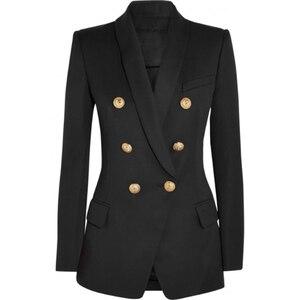 Image 2 - Yüksek kalite yeni moda 2020 tasarımcı Blazer kadın uzun kollu kruvaze Metal düğmeler uzun Blazer dış ceket