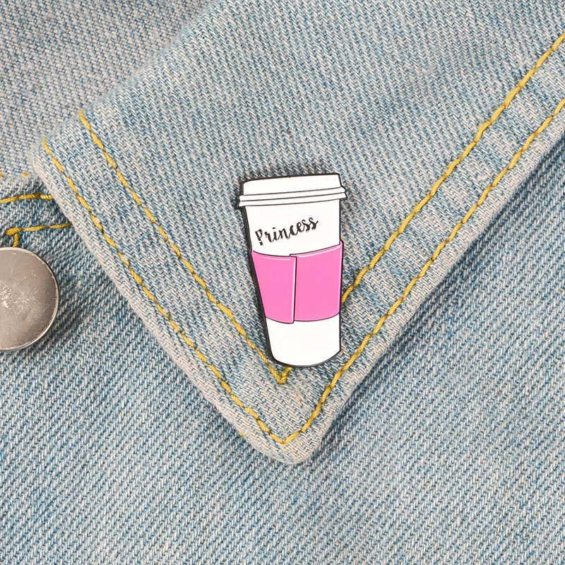 Putri Kopi Cangkir Enamel Pin Pink Mug Bros Logam Bros Fashion Perjalanan Piala Pins Lencana Hadiah untuk Wanita Pria Kopi pecinta