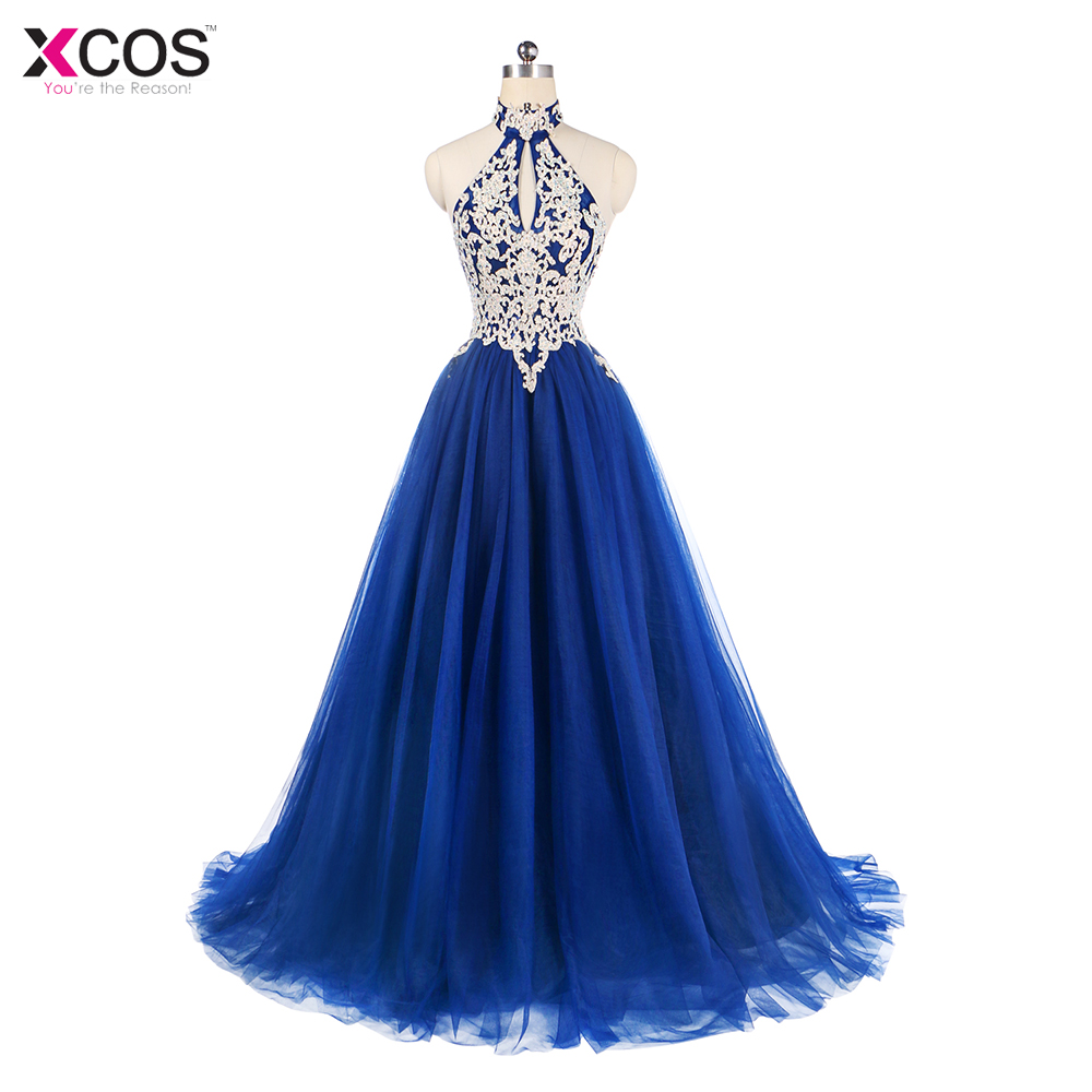 New Arrival 2018 Long   Prom     Dresses   Luxury Beaded Top Sleeveless Tulle Royal Blue Formal Evening   Dress   Party Gown Robe de Soiree