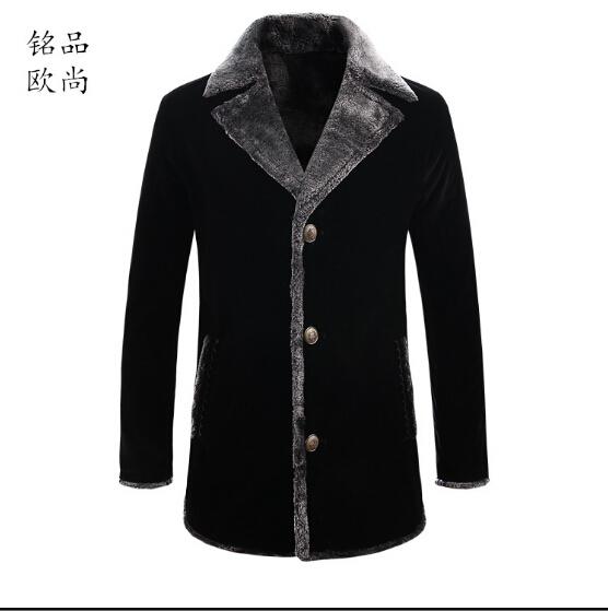 M-5xl más el tamaño de terciopelo cuello de piel abrigo delgados coreanos hombres de marca business casual chaqueta acolchada y largas secciones abrigo de lana