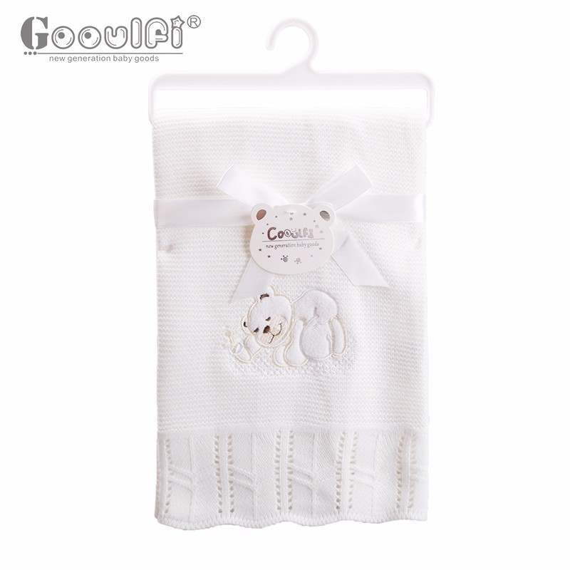 Gooulfi Baby Cover Blankets Acrylic Baby Blanket Kids Receiving Blankets Ivory Solid Knitted Baby Toddler Winter Blanket