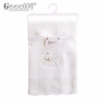 Gooulfi Newborn Baby Blankets Super Soft Stroller Acrylic Wrap Ivory Solid Knitted Winter Baby Toddler Blanket Bedding Newborn