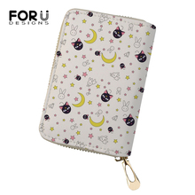 FORUDESIGNS Fashion Women Business PU Card Holder Moon Cats Prints Girls Money Purses Cartoon Small Animal Pattern Cluth Wallets