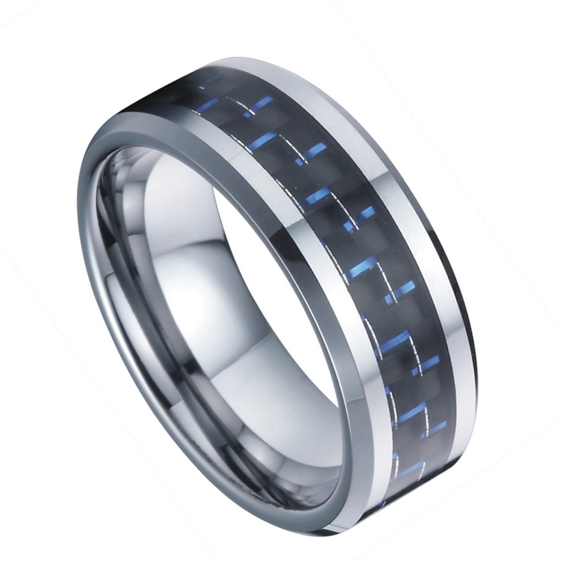 6mm tungsten rings designs wedding band for men and women blue carbon jewelry accessories wholesale china TK016M (4)