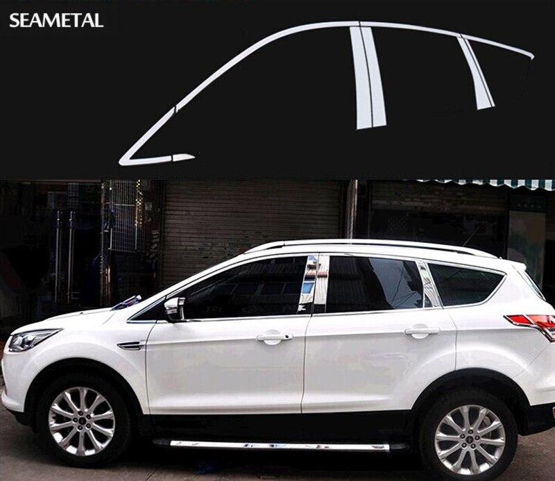 Car Styling Pleine Fenêtre Garniture Décoration Bandes Pour Ford Kuga Évasion 2013 2014 2015 Auto Fenêtre Bande Accessoires OEM 10 16 24 dans Chrome Styling de Automobiles et Motos