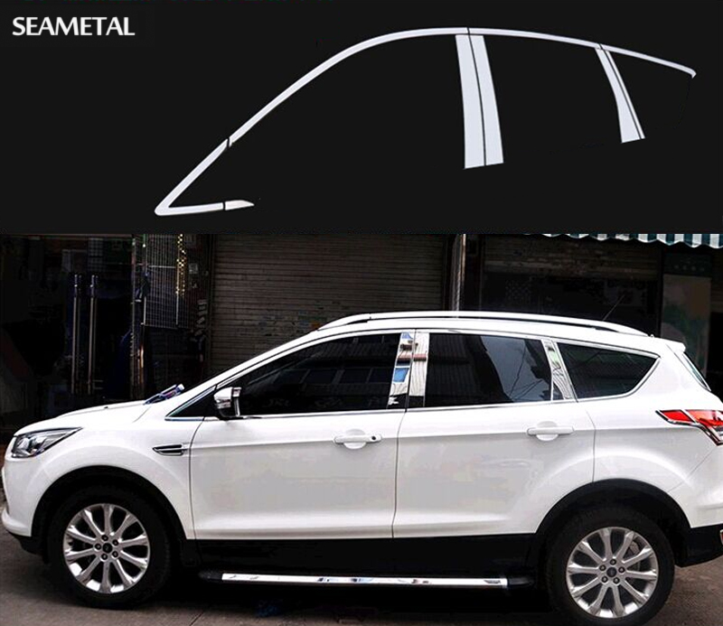 Stainless Steel Car Styling Full Window Trim Decoration Strips For Ford Kuga Escape 2013 2014 2015 Accessories OEM-10-16-24 full window trim decoration strips for honda civic 9th 2013 2014 2015 auto accessories stainless steel car styling oem 16