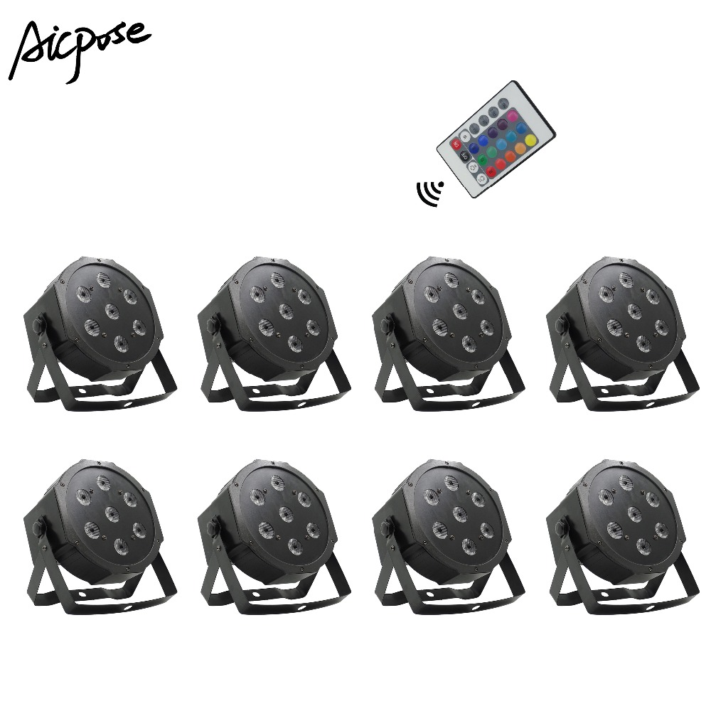 8Pcs/lots Remote Par Lights 7x12w Small Lens RGBW 4 In 1 7*12w With Remote Control Fat Par Led Disco DJ Bar Stage Light