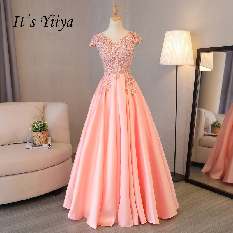 It's YiiYa Pink Popular Short Sleeve V-Neck Evening Gown Simple Bling Crystal Illusion Lace Up Luxury Bride Evening Dresses L040