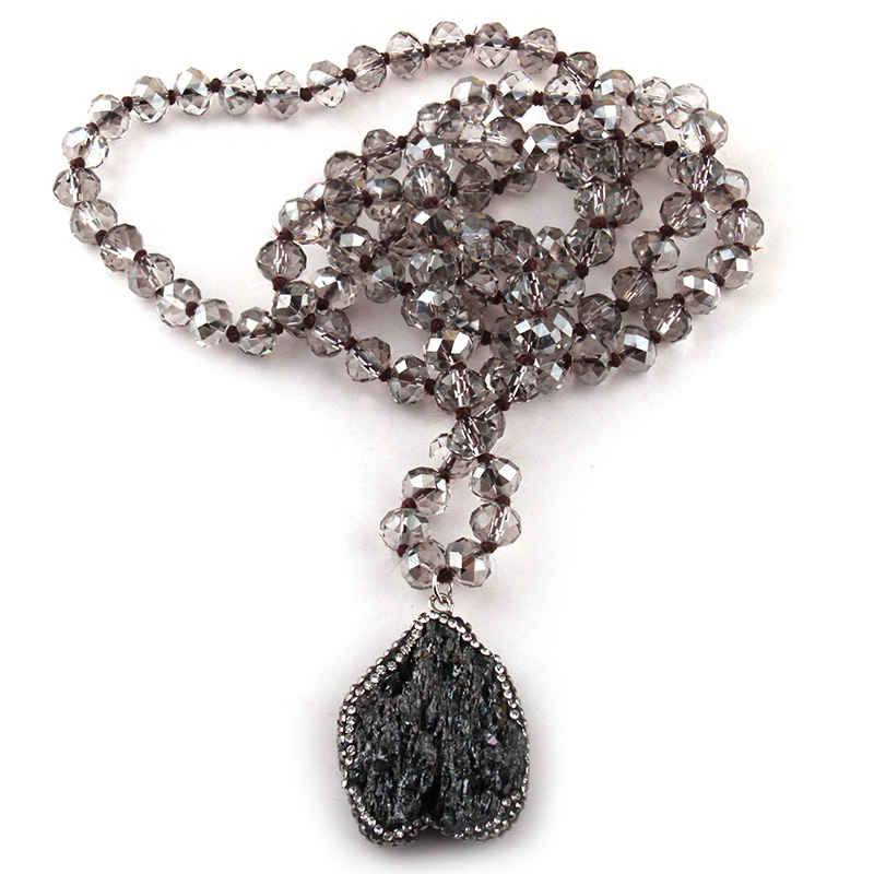 Fashion Bohemian Tribal Jewelry Gray Crystal knotted Halsband 5X8 Glass Crystal Natural Irregular Stone Charm Pendant Necklace