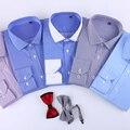 Moda 2017 100% Algodón A Rayas sin necesidad de hierro slim fit rayas de impresión sarga hombres de negocios camisas de vestir formales masculinos ropa