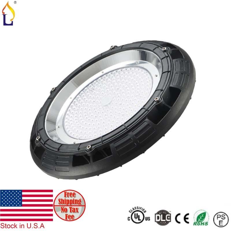 UL DLC IP65 Waterproof 100W 150W 200W UFO LED High Bay Lamp Light outdoor 5 year warranty 120Lm/w USA stock no tax free shipping 1 year warranty in stock 100