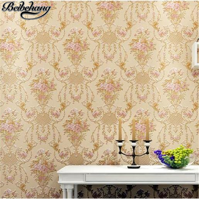 beibehang American pastoral flower 3D stereo AB with pure plain nonwoven new wallpaper bedroom living room background wall paper