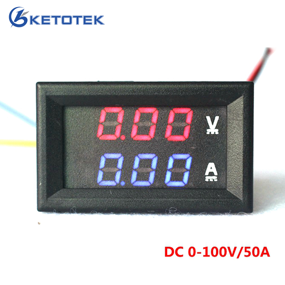 YB27VA DC 0 100V/50A Digital Ammeter Voltmeter 2 in 1 Digital ...