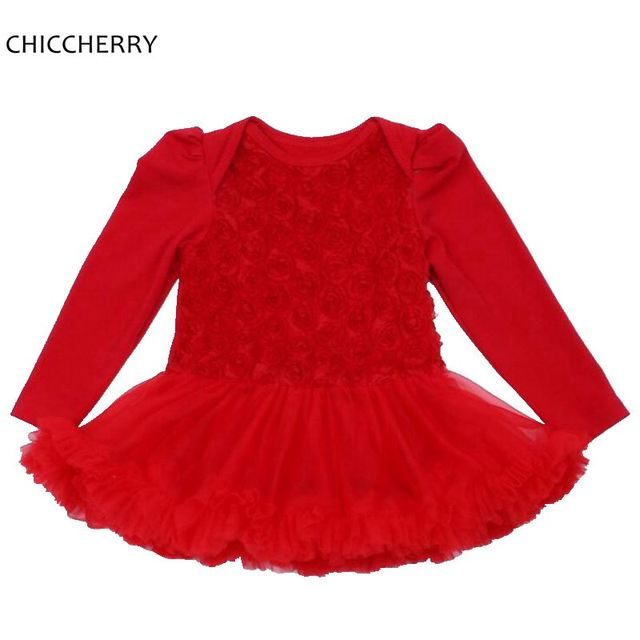 Red Rose Baby Girl Clothes Infant Lace Tutus Long Sleeves Valentine & Wedding Dress New Year 2017 Ropa Bebe Toddler Outfits