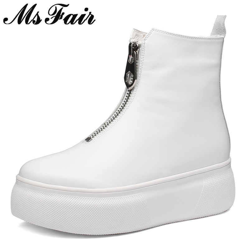 MSFAIR Runde Kappe Dicken Boden Frauen Stiefel Mode Metall Zipper Ankle Stiefel Frauen Schuhe Aus Echtem Leder Plattform Stiefel Schuhe Mädchen