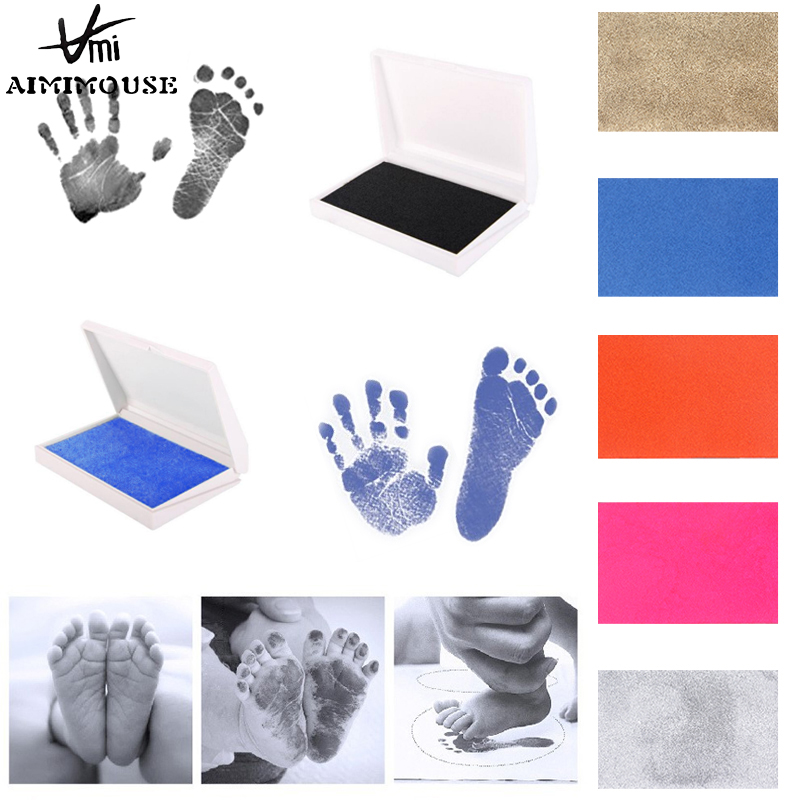 Baby Footprint Imprint Kit Baby Ink Pad Storage Memento Ink Newborn Photo Frame Kits Baby Souvenir Drawer Inkless Handprint
