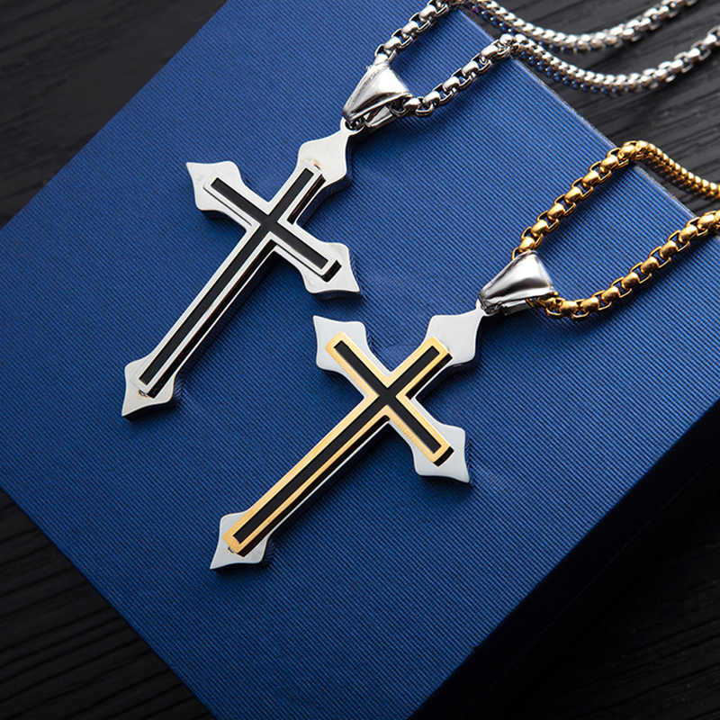 Fashion Jesus Cross Necklaces Pendants For Men Women Stainless Steel Gold Silver Color Prayer Crucifix Male Chocker Chain Gifts