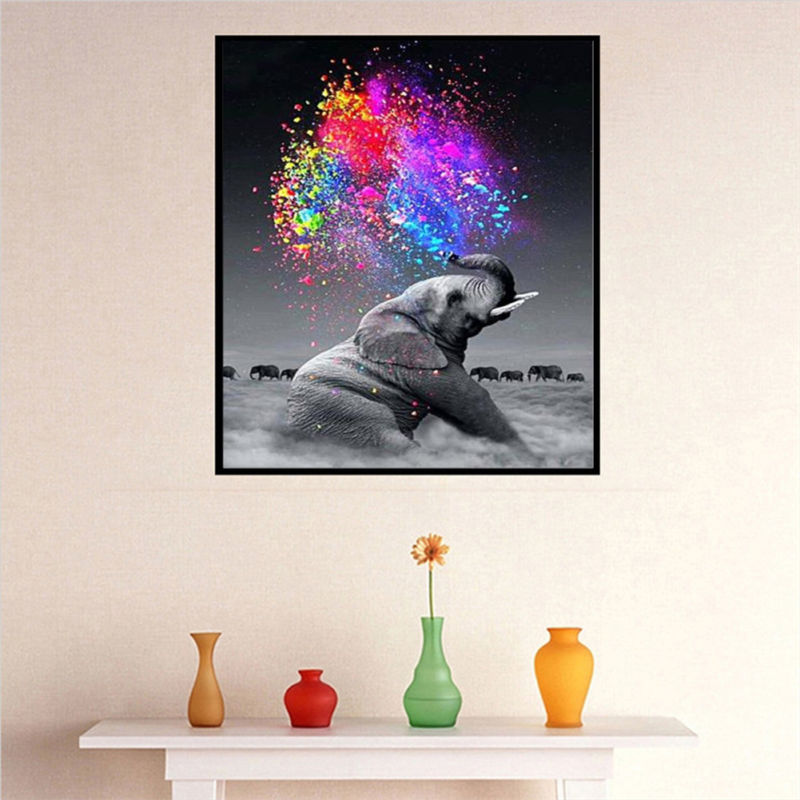 5D DIY Diamond Elephant Embroidery Painting Cross Stitch Craft Gift Home Decor
