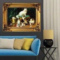 Холст картины на стене, в искусстве печати Классическая кошка на холсте без рамки украшения дома плакат украшение гостиной