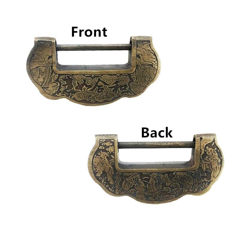 Vintage chinois en laiton bijoux coffre boîte valise Case boucles bascule moraillon loquet attraper fermoir meubles, serrure de mariage - 4