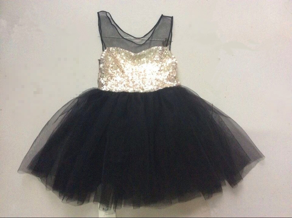 New Summer Baby Dress Gold Sequined Black Lace Girl Party Dresses