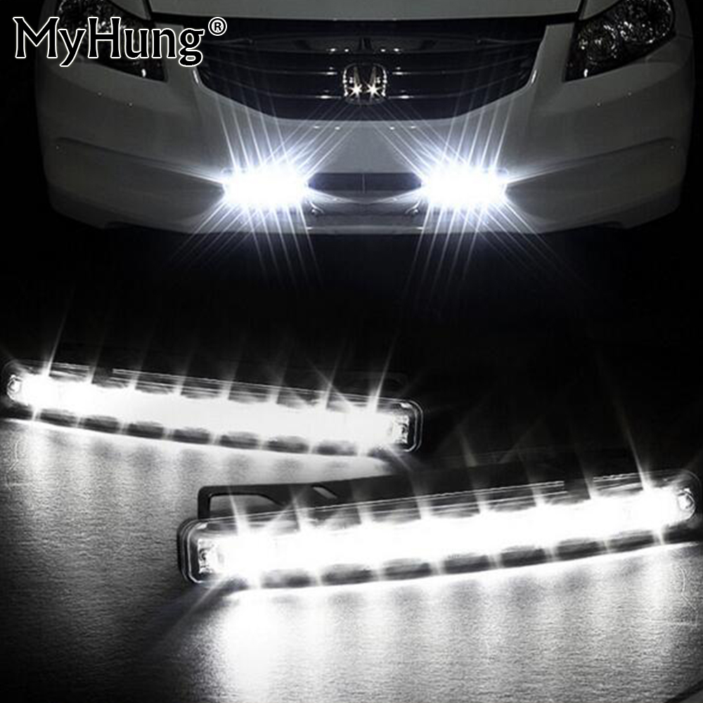 Car-styling 2x Car Light 8LED DRL Fog Driving Daylight Daytime Running LED for BMW for Audi White Head Lamp 2PCS Per set car styling daytime running light auto fog lamp for b mw e90 3 series led daylight drl