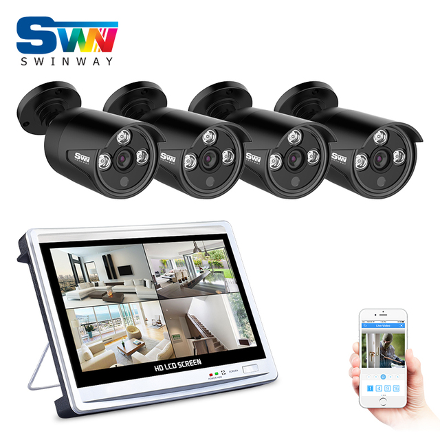 SW 4CH AHD 12 Inch LCD DVR Security Camera System 1080P ...