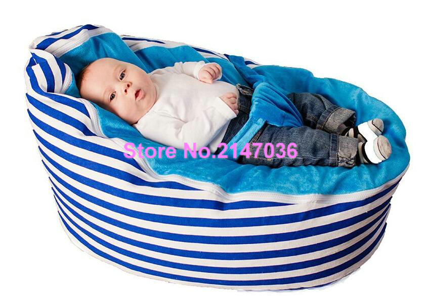 Blue Stripes Cotton Fabric Baby Bean Bag Sleeping Chair Promotion Cheap Price Kids Beanbag Sofa Beds In Sofas From Furniture On Aliexpress