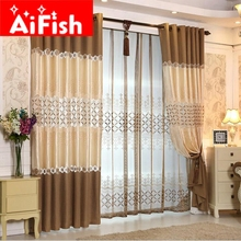 High Grade Europe Silk Soluble Hollow Embroidery Coffee And Purple Window  Treatments Luxury Curtains For Living Room DF015#20