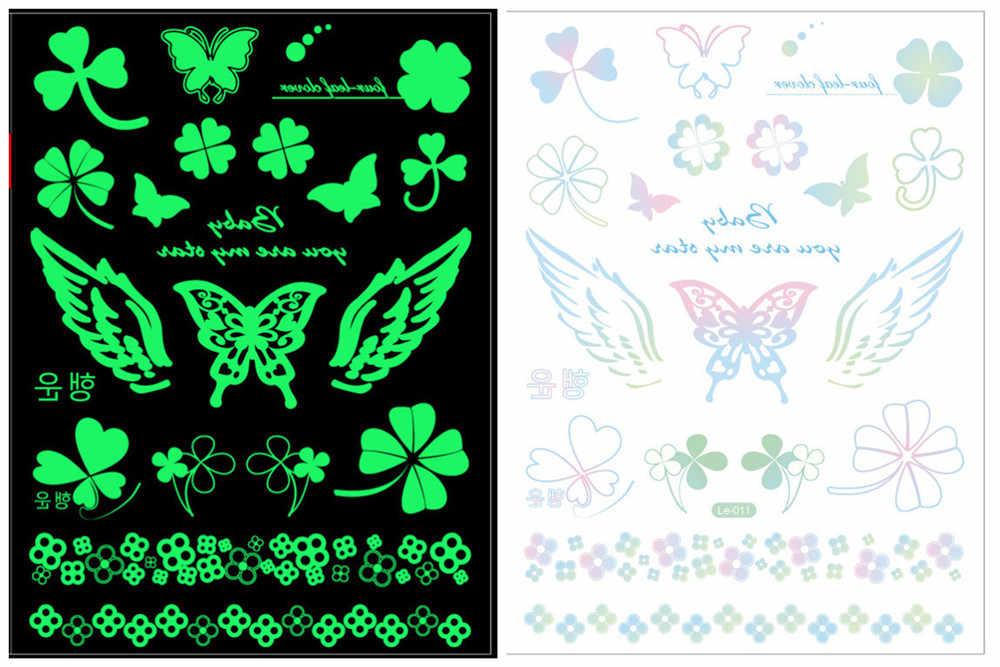 เรืองแสงใน Dark ของเล่นแฟชั่นโลโก้ป้ายสัญลักษณ์ Tattoo สติกเกอร์กันน้ำสีเขียว One - Time องค์ประกอบ Tattoo สติกเกอร์