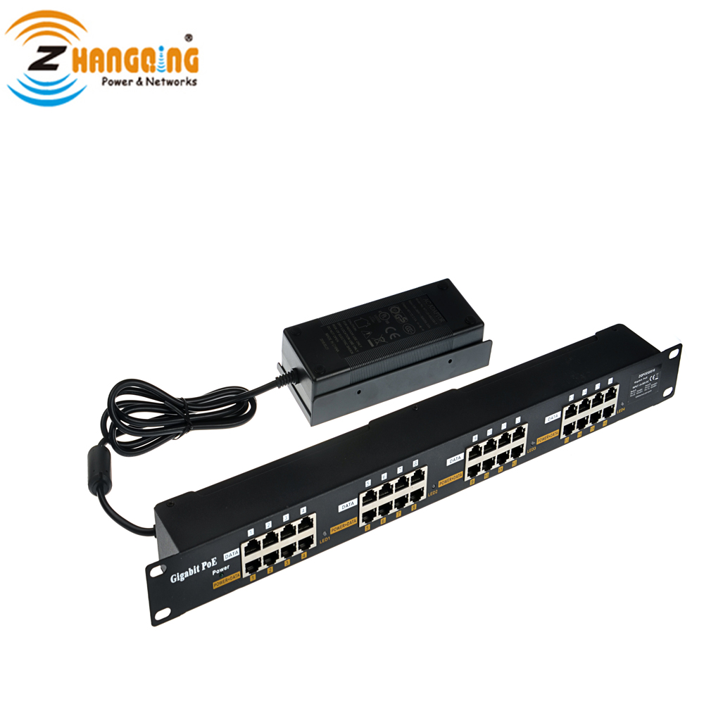 Passive 16 Port Gigabit PoE Patch Panel Security PoE Injector With 48V 120W Power Supply For WiFi Access Point IP Camera