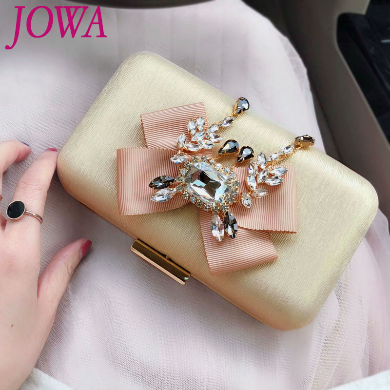2018 New Design Women's Evening Bags Diamonds Bow Mini Handbag Night Gold Purse Wedding Party Bride Clutch Chain Shoulder Pocket