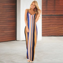 2019 New Summer Sexy V-neck Sling Slim Dress Floral Print Loose Sleeveless Bohemian Beauty Lady Beautiful