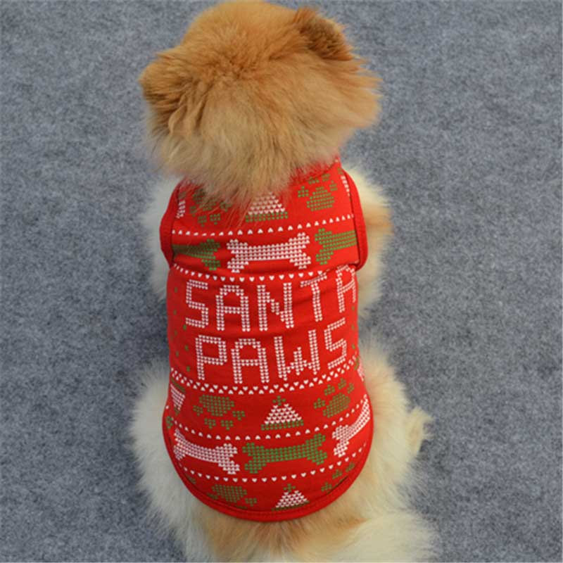 New Pet Dog Vest Spring Summer Tank T Shirt Funny Dog Christmas Style Small Dog Clothes Mosaic Pattern SANTA PAWS DA