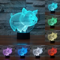 Lovely Pig Night Light Pig 3D Lamp Bulbing Touch Swithc Colorful Desk 7 Colore Change USB