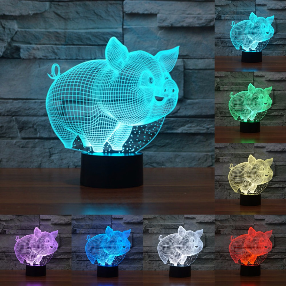 Lovely pig Night Light Pig 3D lamp Bulbing Touch Swithc Colorful Desk 7 Colore change USB Table Desk nightlight for kid IY803826