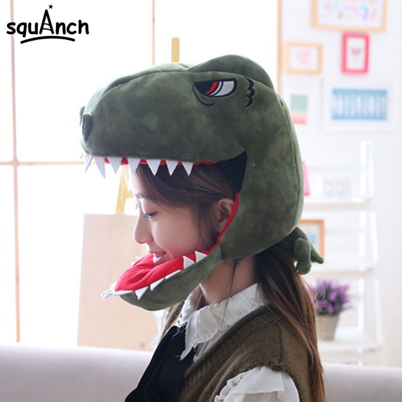 Cartoon Animals Dinosaur Shark Hat Funny Cute Kawaii Headgear Women Men Adult   Skullies   Halloween Festival Party Prop Winter Wear