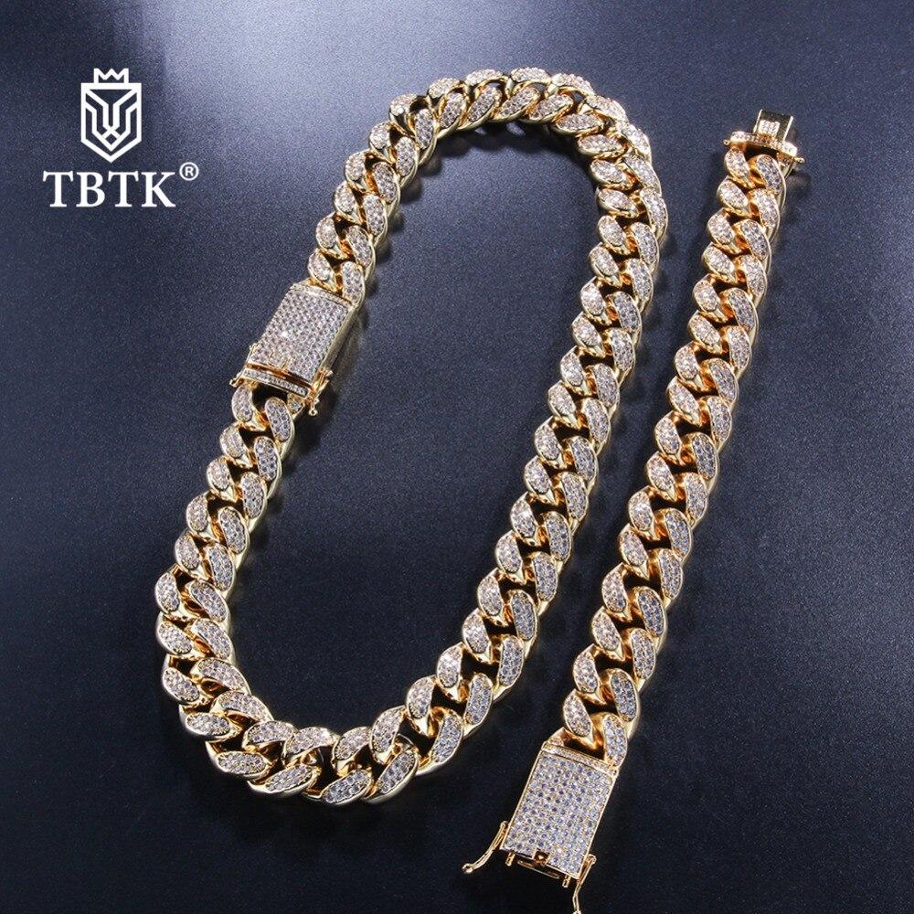 TBTK 20mm largeur cubain lien chaîne et Bracelets ensembles de luxe pavé Bling beau cristal zircone pierres collier et Bracelet bijoux