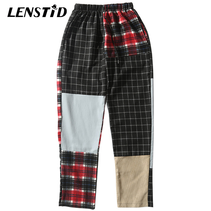 LENSTID Trousers Harajuku Harem-Pants Joggers Color-Block Patchwork Streetwear Plaid