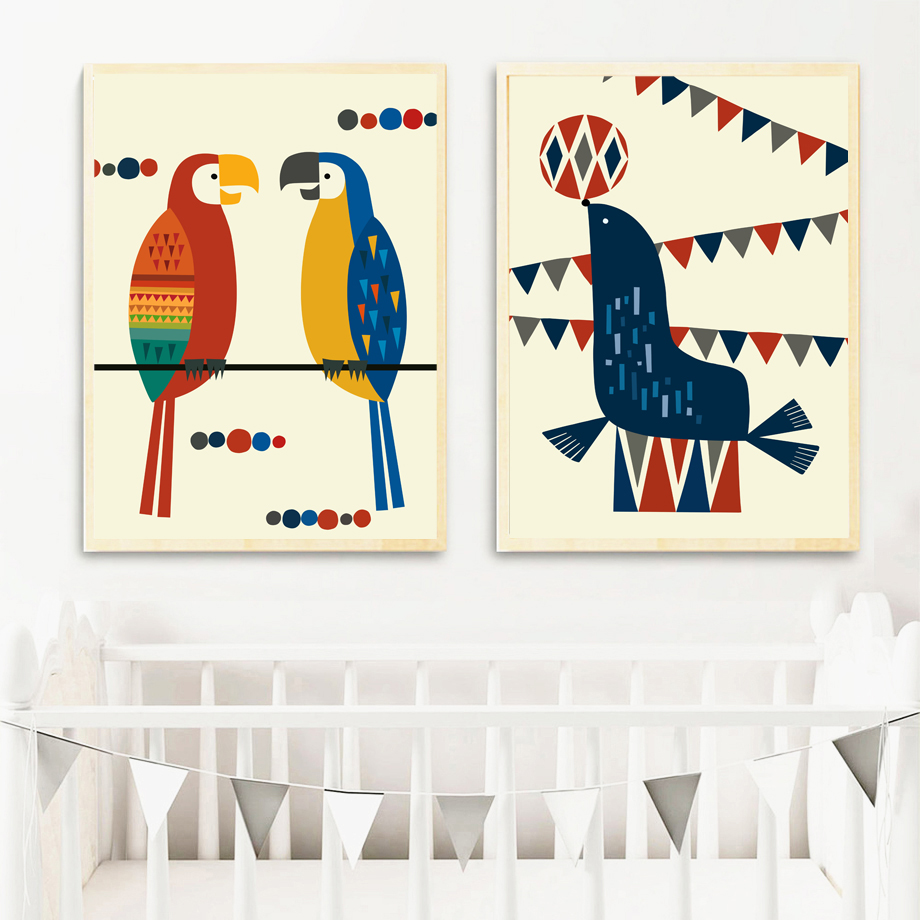 Funny Cartoon Woodpecker Sea Lion Ball Wall Art Canvas