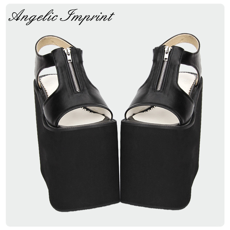 16cm Extreme High Platform Wedge Heel Sandals Zipper Opening Black and White Leather Sandals ladylike women s sandals with bowknot and wedge heel design