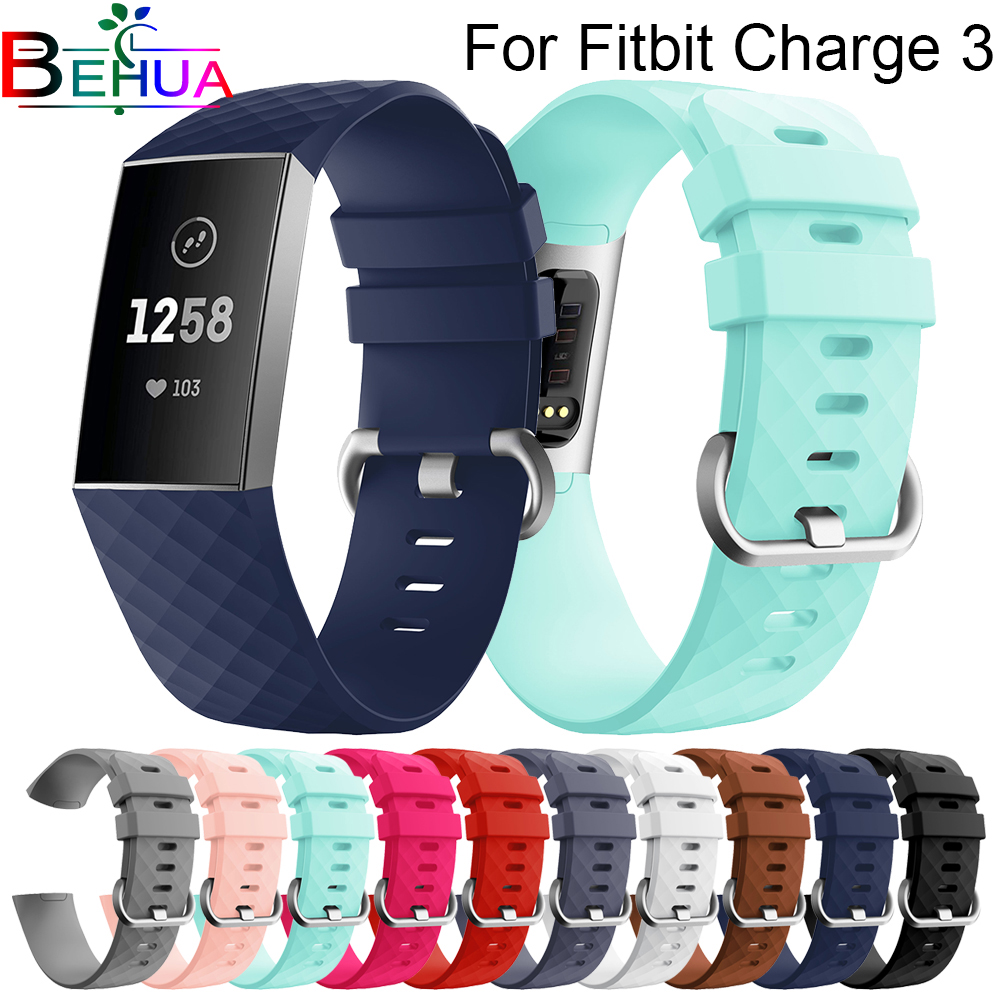 Silicone Sport Bands For Fitbit Charge 3 / Charge 3 SE Tracker Classic Small Large Bracelet Wristband For Women Men 23mm 20mm