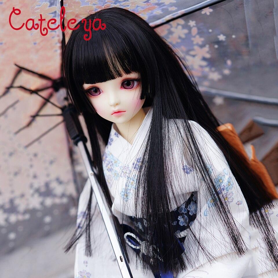 Cateleya princesse Ji Fa Cut bjd 1/3 1/4 haute température soie noir cheveux raides changé à la main perruque accessoires de poupée