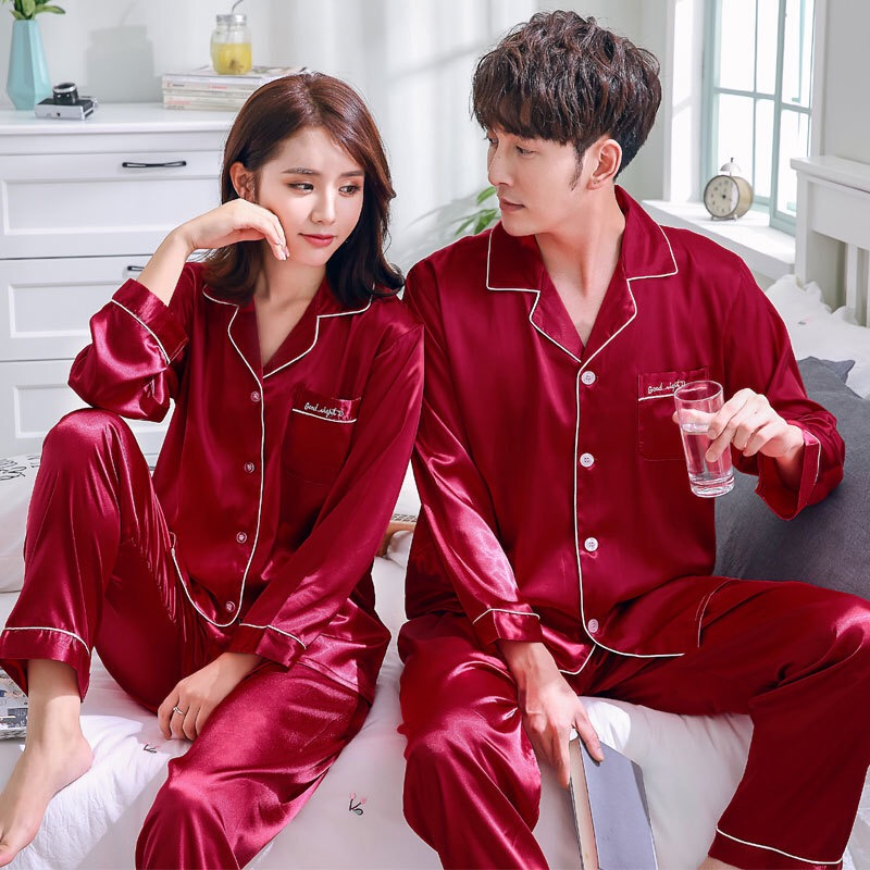 Spring Couple Matching   Pajamas     Set   Faux Silk Satin Solid Simple Full Plus Home Wear For Lovers Woman Man Autumn 2019 New