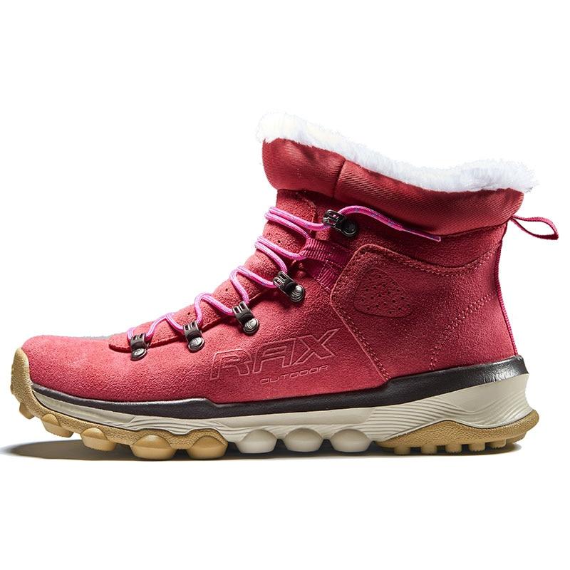 RAX Women Genuine Leather Hiking Shoes Outdoor Waterproof Warm Sneakers Breathable Outdoor Sports Shoes Men Walking