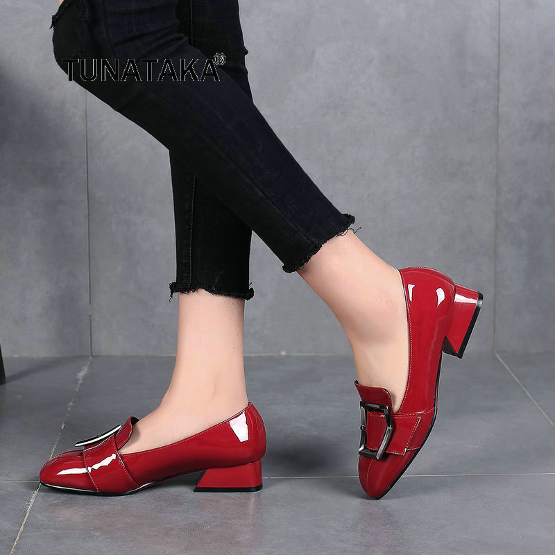 Women Slip On Comfortable Low Heel Pumps Fashion Buckle Square Toe Casual Shoes Black Wine Red цена 2017