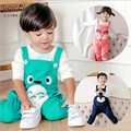 Retail 2017 Spring style Lovely Small Fox Overalls Loose Bib Strap Haren Unisex Baby Leisure pants Free Shipping