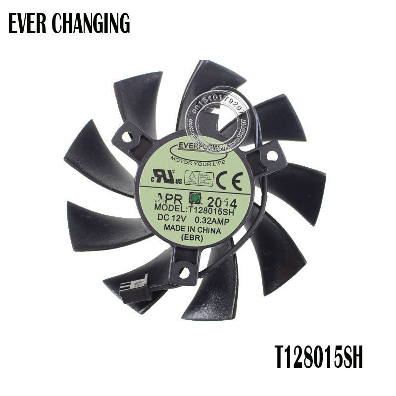 T128015SH 75MM 2P 2Pin DC 12V 0.32AMP Cooling Fan For EVGA GTX 650 650Ti GTS 450 Graphics Card Cooler Fans
